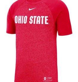 Nike Ohio State Buckeyes Red Marled Raglan Short Sleeve Fashion T Shirt