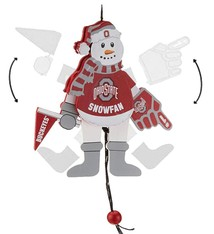 Ohio State Buckeyes Wooden Cheering Snowman Ornament