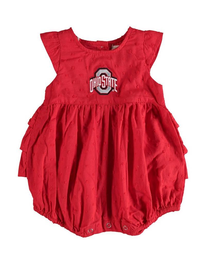 Ohio State University Infant Scarlet Ruffle Bodysuit