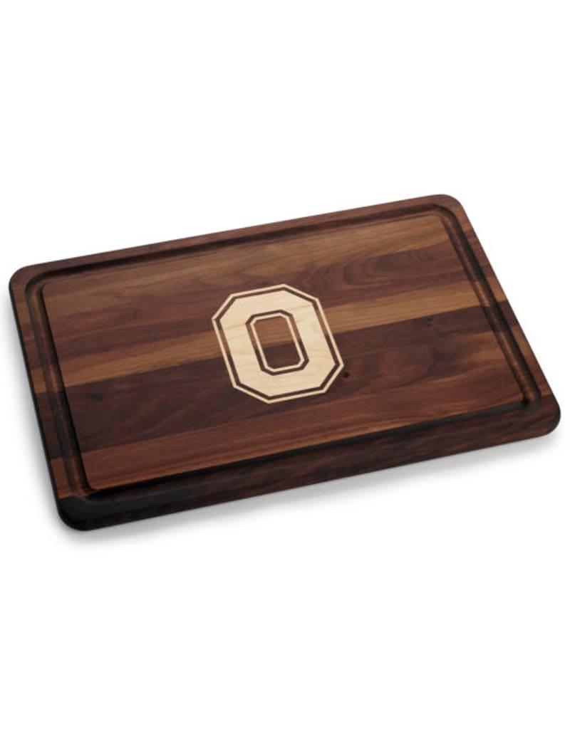 Warther Boards 18x12 Ohio State Walnut Block O Inlay Cutting Board
