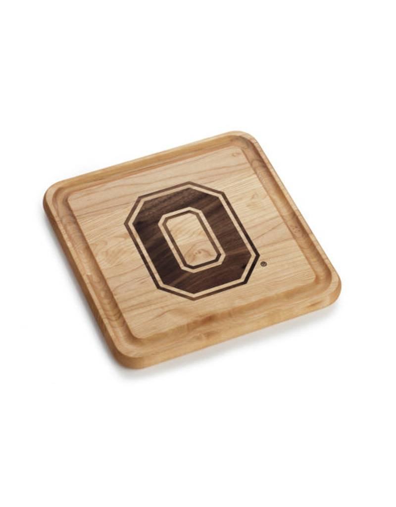 Warther Boards 9x9 Ohio State Maple Block O Inlay Cutting Board