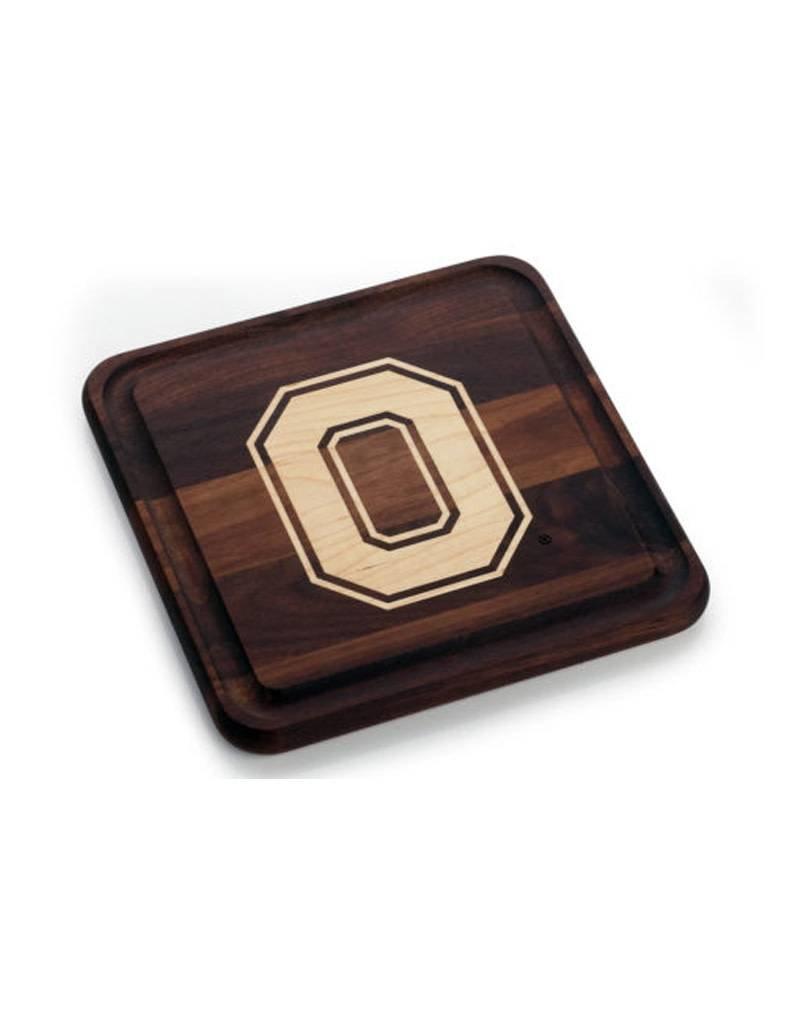 Warther Boards 9x9 Ohio State Walnut Block O Inlay Cutting Board