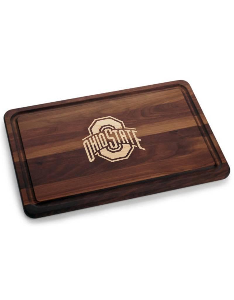 Warther Boards 18x12 Ohio State Walnut Athletic O Inlay Cutting Board