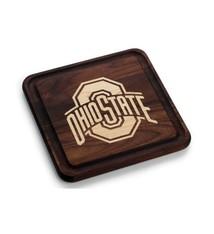 Warther Boards 9x9 Ohio State Walnut Athletic O Cutting Board