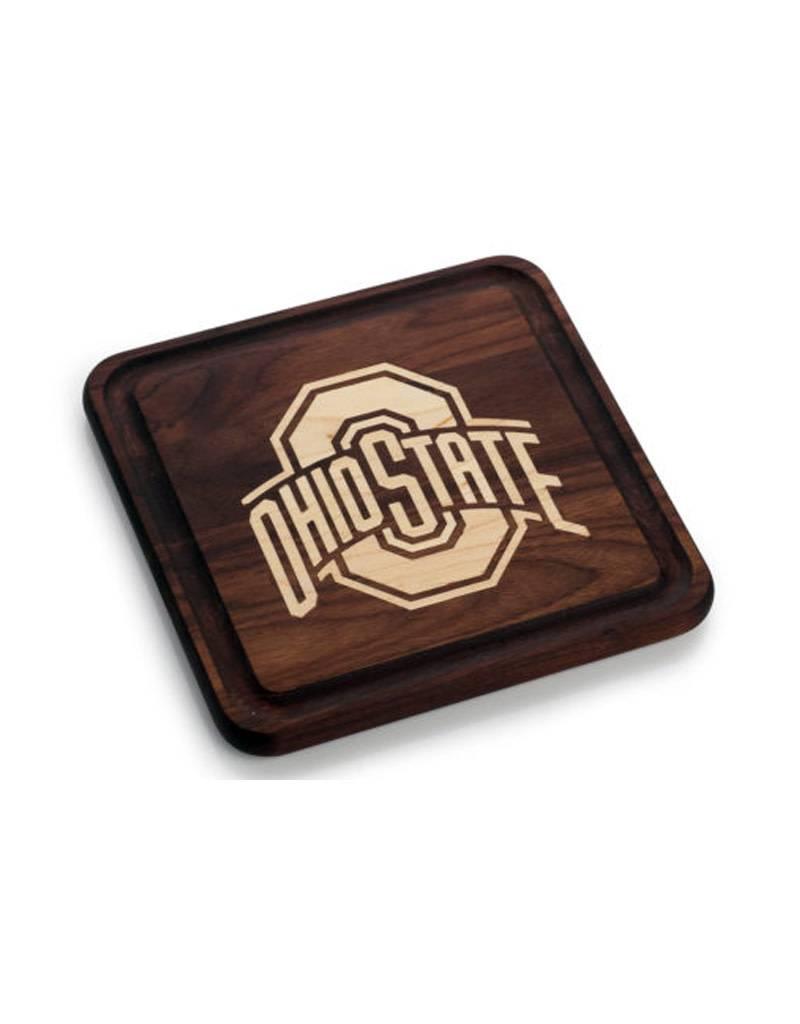 Warther Boards 9x9 Ohio State Walnut Athletic O Inlay Cutting Board