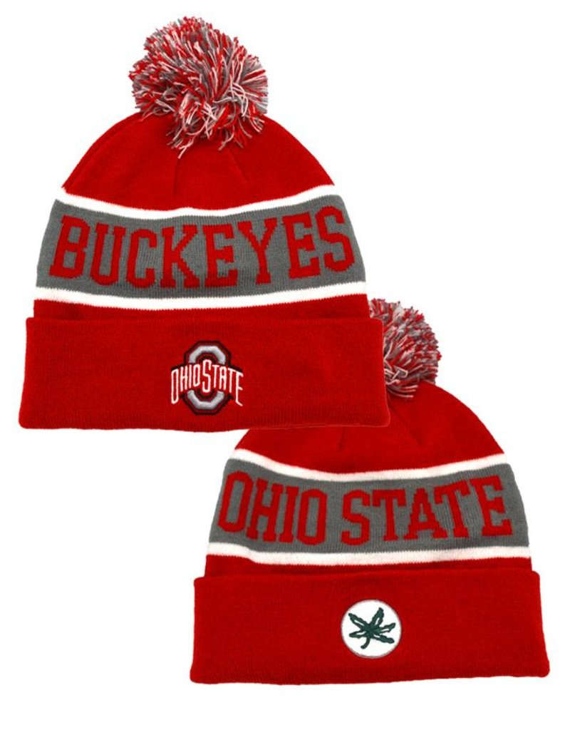 57d8a667e87b31 Ohio State Buckeyes Team Cuffed Knit Hat with Pom - Everything Buckeyes