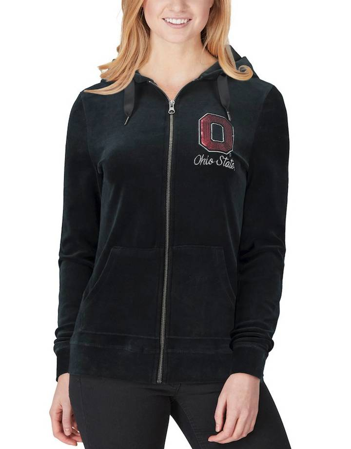 Top of the World Ohio State Buckeyes Women's Ski Lodge Velour Full-Zip Hoodie