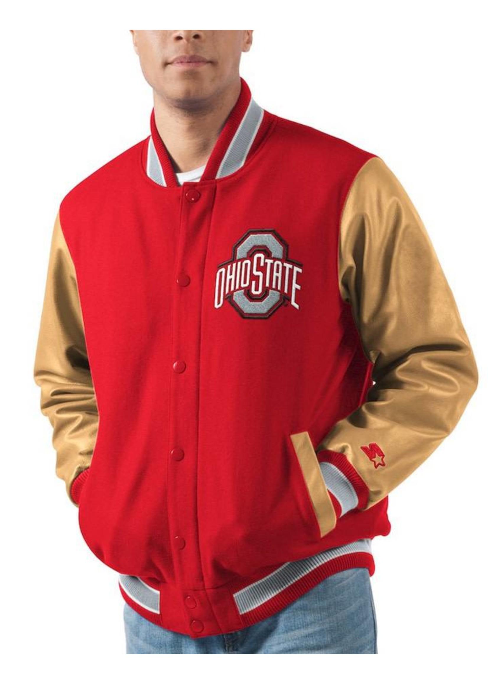 Ohio State Buckeyes Letterman Varsity Wool & Leather Full Snap Jacket - Big & Tall
