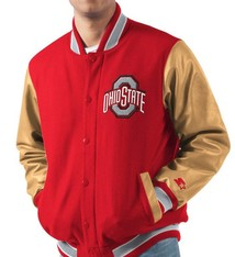 Starter Ohio State Buckeyes Letterman Varsity Wool & Leather Full Snap Jacket - Big & Tall