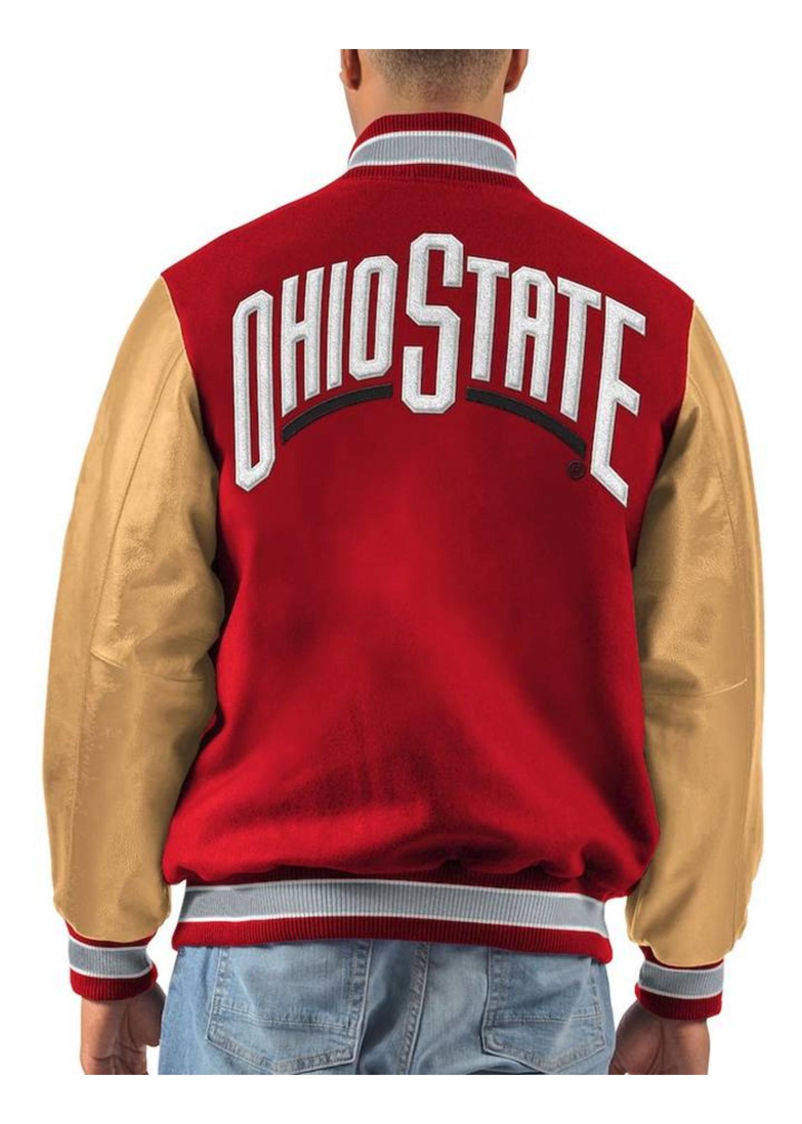 Ohio State Buckeyes Letterman Varsity Wool & Leather Full Snap Jacket
