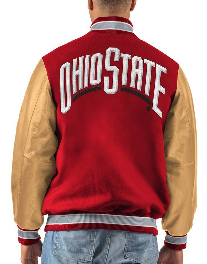 Starter Ohio State Buckeyes Letterman Varsity Wool & Leather Full Snap Jacket