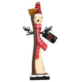 Ohio State Wooden Snowman with Broom