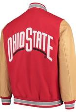 Starter Ohio State Buckeyes Letterman Varsity Wool & Leather Full Snap Jacket