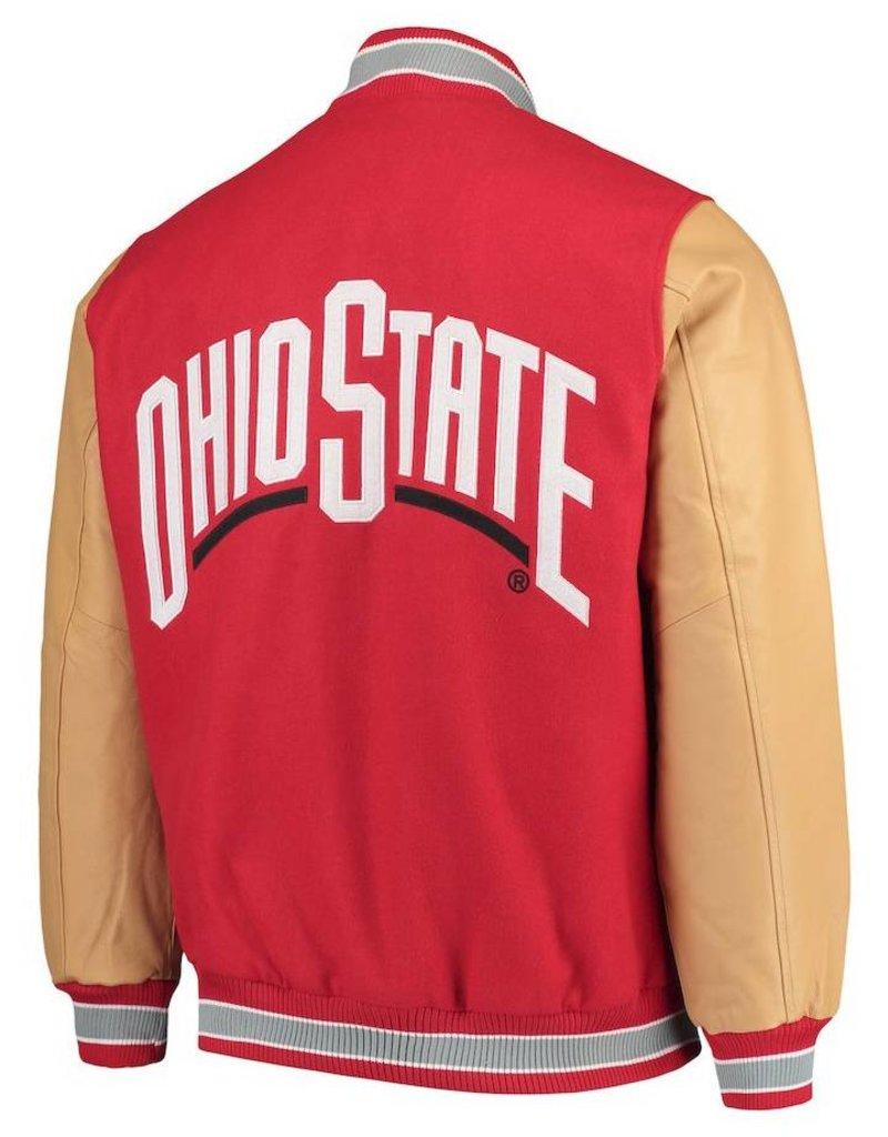 Starter Ohio State Buckeyes Letterman Varsity Wool & Leather Full Snap Jacket - Big & Tall