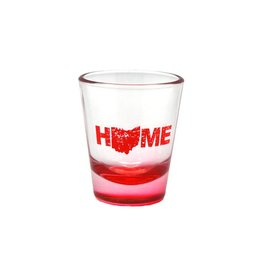 """HOME"" RED BOTTOM TAPERED SHOT GLASS"