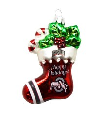 Ohio State Stocking Blown Glass Ornament