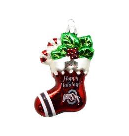 Ohio State Stocking Blown Glass Ornament