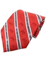 Ohio State University Red & Grey Stripe Athletic O Necktie
