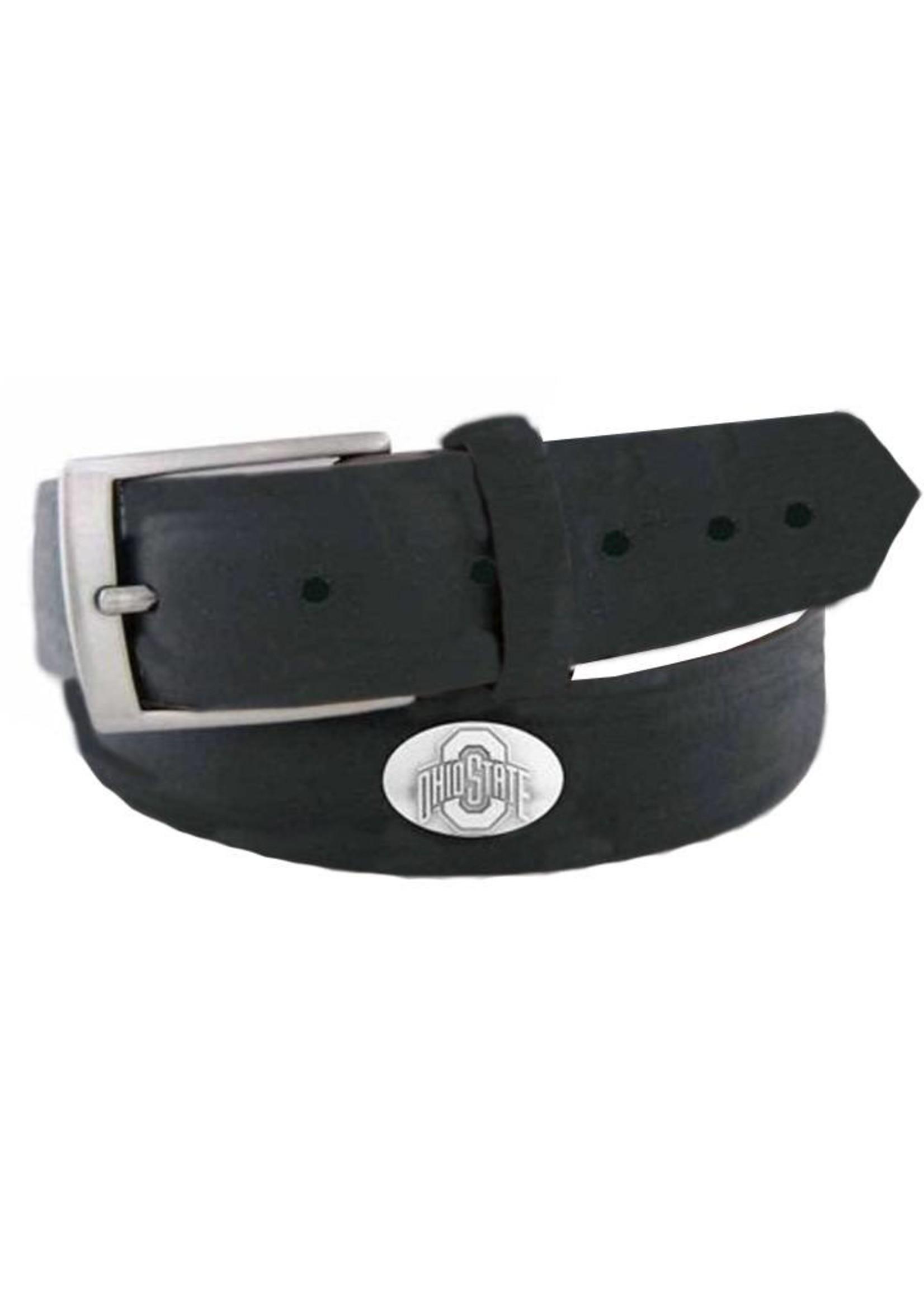 Ohio State Buckeyes Concho Black Leather Belt
