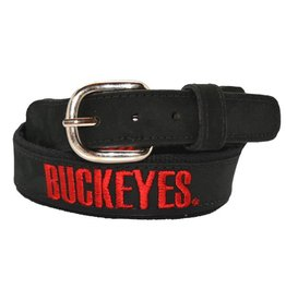 Ohio State Buckeyes Black Leather Embroidered Belt