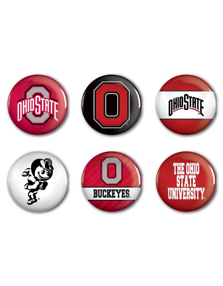 Ohio State University Buttons 6 Pack Everything Buckeyes
