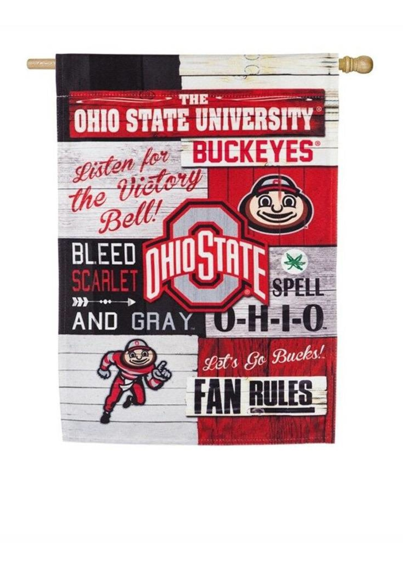 Ohio State Buckeyes Vertical 28x44 Fan Rules House Flag