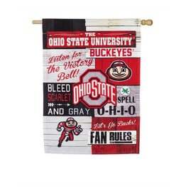 Ohio State Buckeyes Vertical 28x44 Fan Rules House Flag