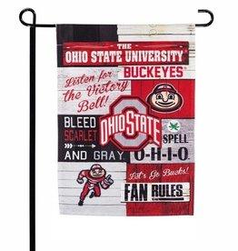 "Ohio State Buckeyes 12.5"" x 17.5"" 2-Sided Fan Rules Garden Flag"
