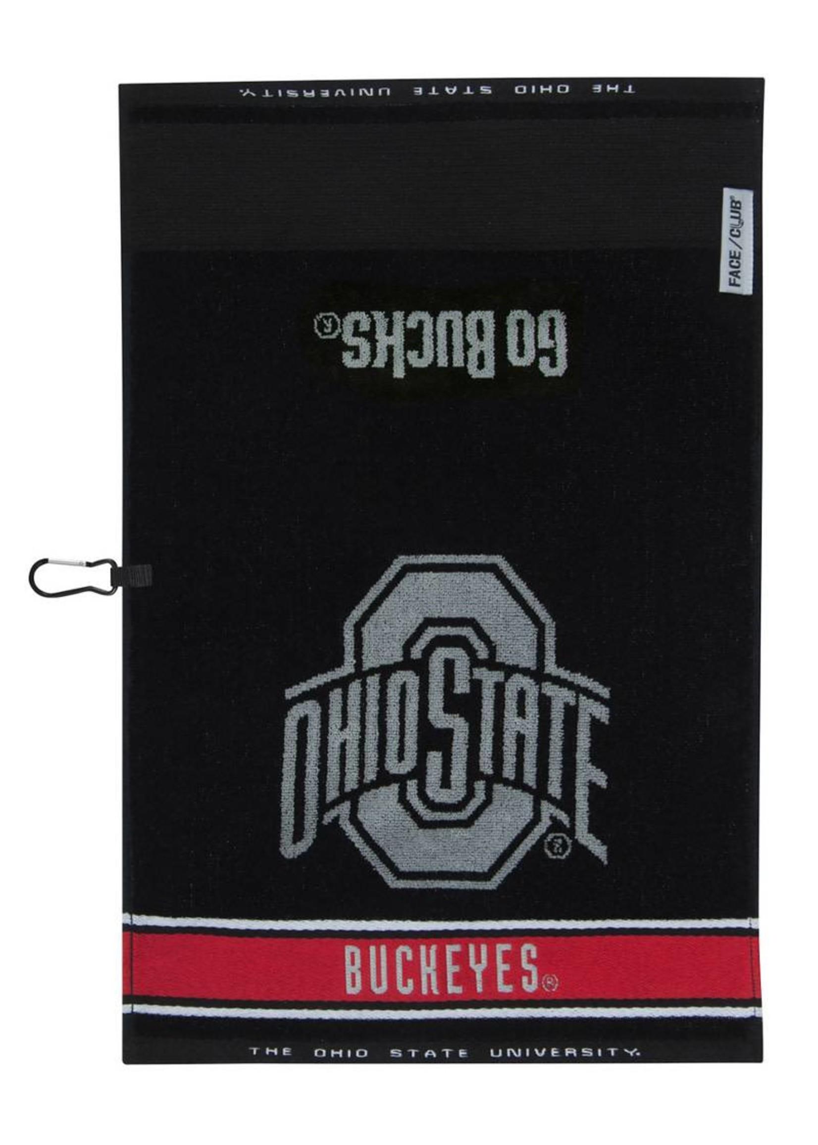 Ohio State Buckeyes Black Jacquard Golf Towel