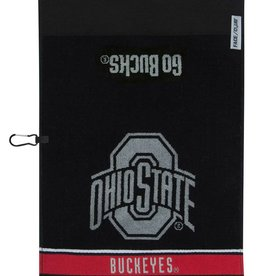 Ohio State Buckeyes Black Jacquard Golf Towel