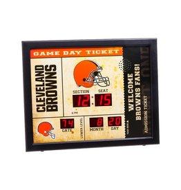 "Cleveland Browns 23"" x 18"" Bluetooth Scoreboard Wall Clock"