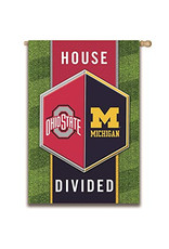 Ohio State/Michigan House Divided Suede Flag