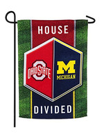 Michigan/Ohio State House Divided Suede Garden Flag