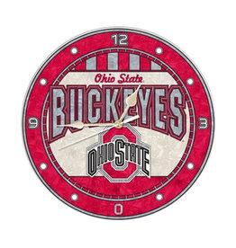 """Ohio State Buckeyes 12"""" Art Glass Clock"""