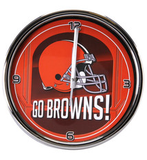 Cleveland Browns Historic Logo Go Team Chrome Wall Clock