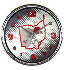 "Cleveland Browns State of Mind 12"" Chrome Wall Clock"