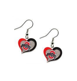 Ohio State Buckeyes Swirl Heart Earrings