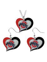 Ohio State Buckeyes Swirl Heart  Necklace And Earring Set