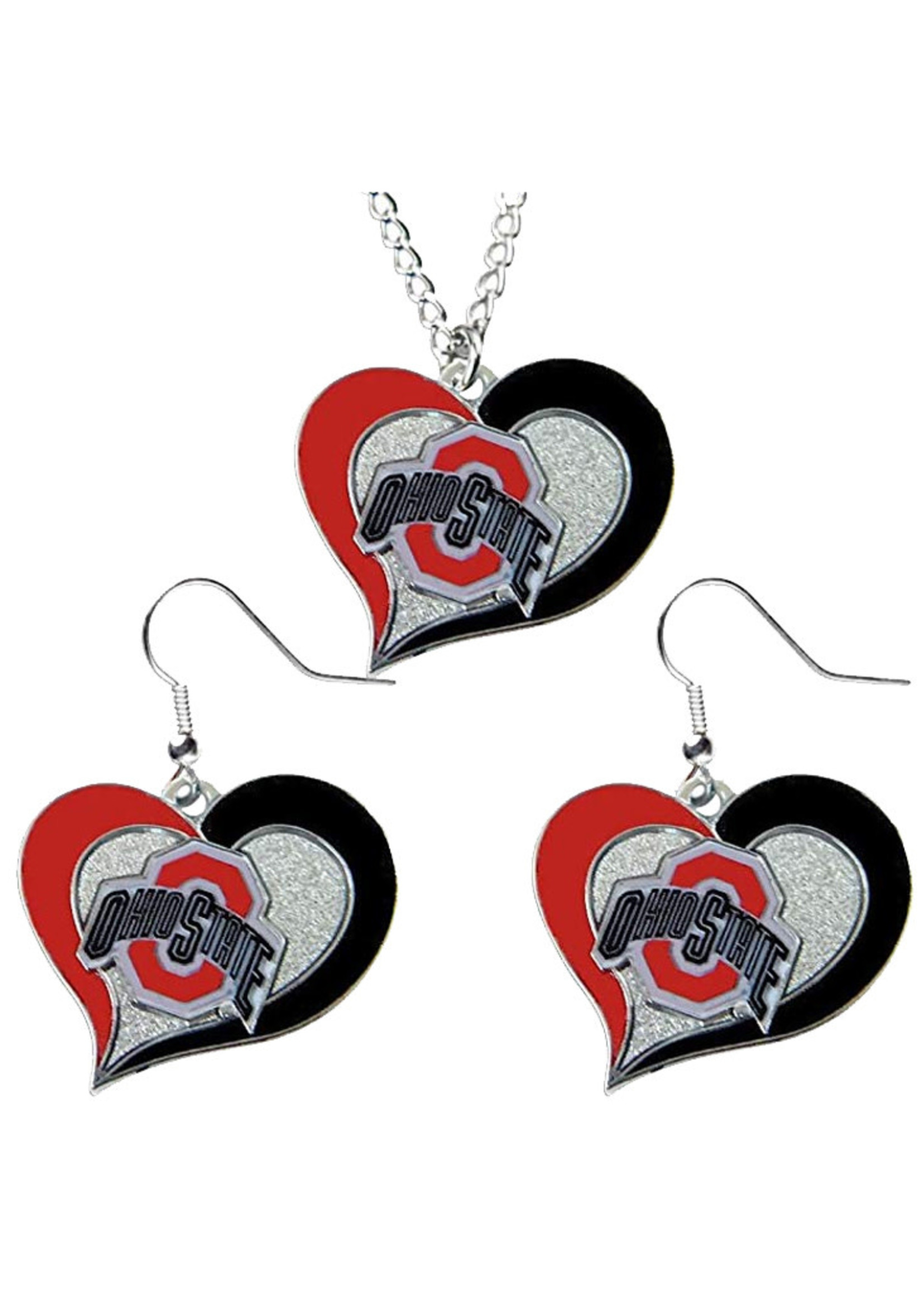 Ohio State Buckeyes Swirl Heart  Necklace And Earring Set