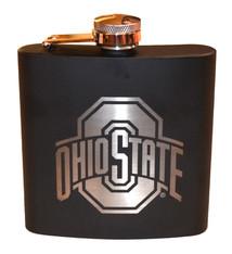 Ohio State University 6 oz. Black Stainless Steel Flask