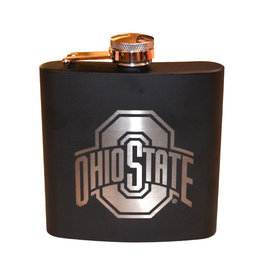 Ohio State University 6 oz. Black Stainless Steel Flask