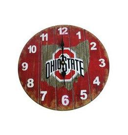 Ohio State Buckeyes Rustic State Wall Clock