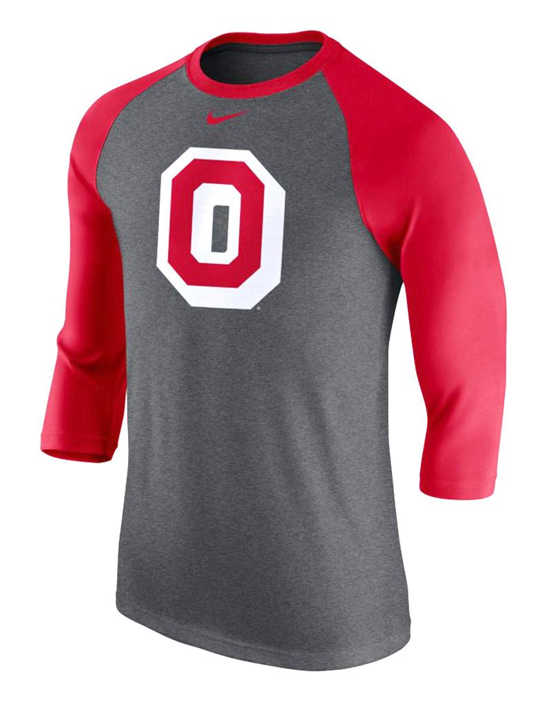 Nike Ohio State Buckeyes Grey Triblend Raglan 3/4 Sleeve Fashion Shirt