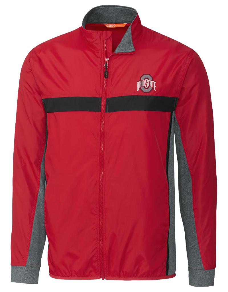 Cutter & Buck Ohio State Buckeyes Mens Wind Resistant Full Zip Jacket
