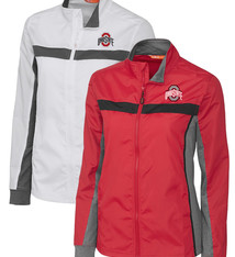 Cutter & Buck Ohio State Buckeyes Womens Wind Resistant Full Zip Jacket