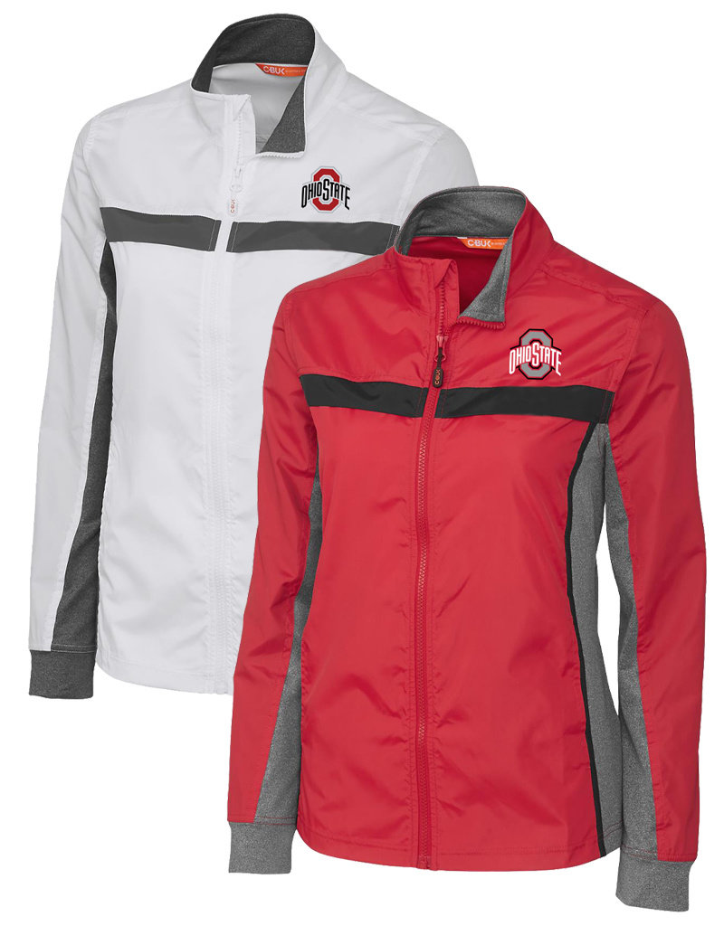 Cutter & Buck  Ohio State Buckeyes Womens Wind Resistant Full Zip Jacket