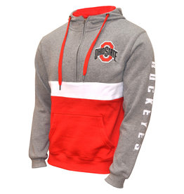 Ohio State Buckeyes Fleece Colorblock 1/2 Zip Hoodie
