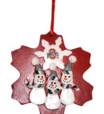 Ohio State Snowman Snowflake Ornament