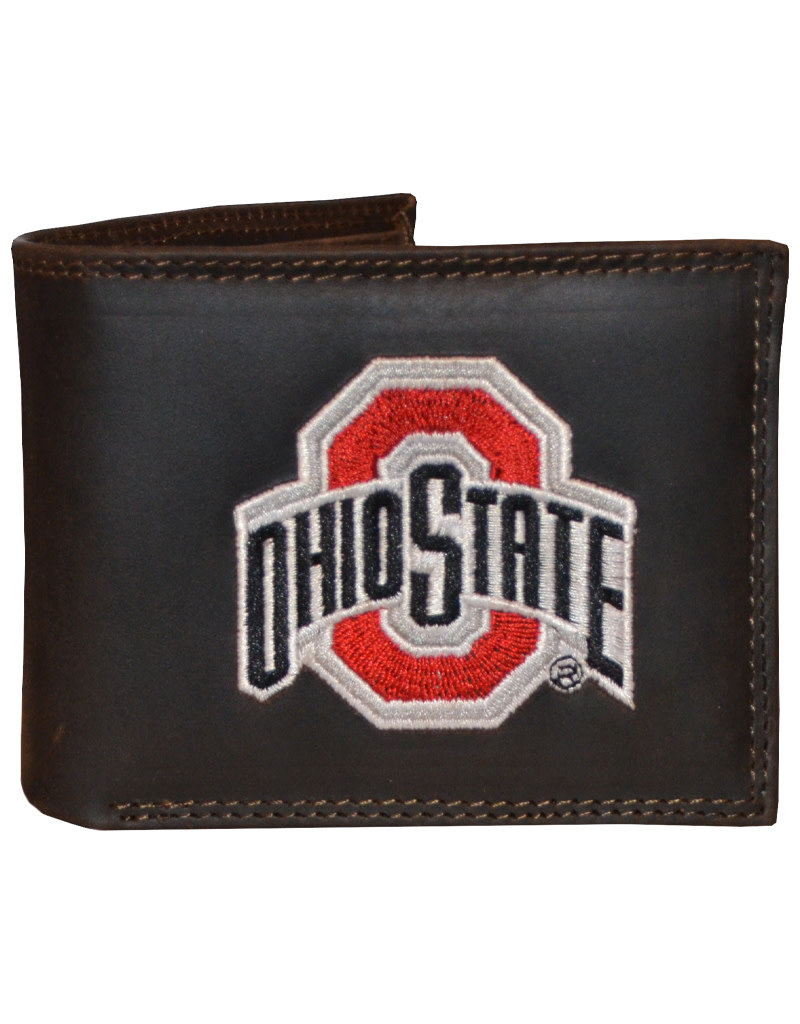 Ohio State Buckeyes Embroidered Light Brown Bifold  Wallet