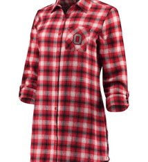Ohio State Buckeyes Women's Button-Up Flannel Shirt